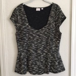 Anthropologie Postmark Marled Peplum Top